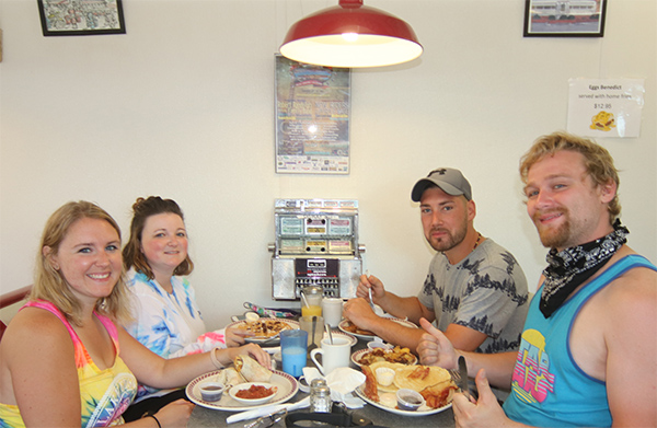 Patrons eating breakfast at Prospect Mountain Diner